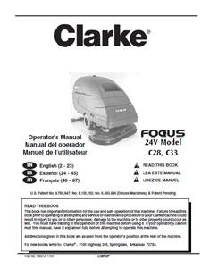 Part Manual For Clarke Focus Ii Walk Behind Scrubber