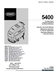 Parts Manual For Tennant 5400
