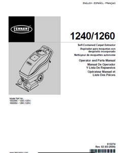 tennant 1240,1260 part manual