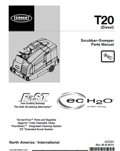 Parts Manual For Tennant T20 Rider Scrubber