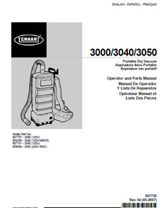 tennant 3000,3040,3050 part manual